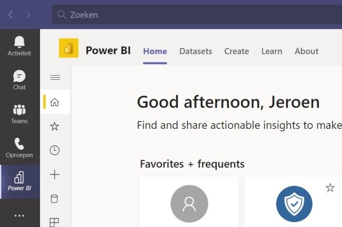 Power BI Personal App Rapport delen in Teams